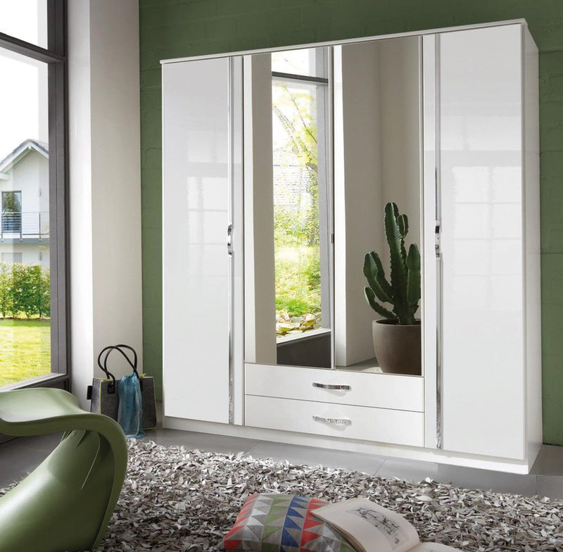 SlumberHaus 'Trio' White Gloss, Chrome & Mirror 4 Door 2 Drawer Wardrobe