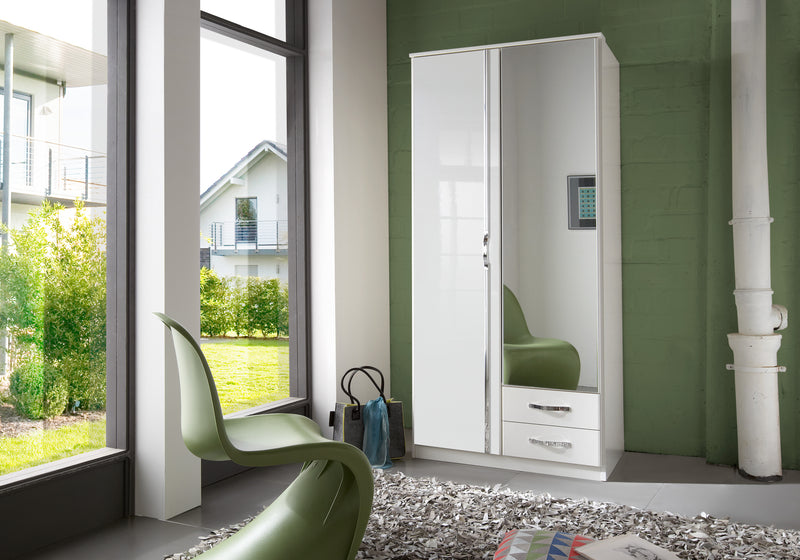 SlumberHaus 'Trio' White Gloss, Chrome & Mirror 2 Door 2 Drawer Wardrobe