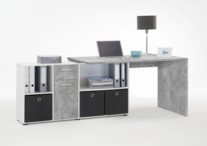 White & Concrete Stone corner office desk, FMD Lex Corner Desk,  Corner desk with storage, German Made Office corner desk, Large corner desk with drawers, large corner desk with storage, Home office corner desk