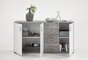 SlumberHaus Urban 3 Door 4 Draw White & Grey Stone Concrete Sideboard Cabinet Unit