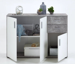 SlumberHaus Urban 3 Door 2 Draw White & Grey Stone Concrete Sideboard Cabinet Unit