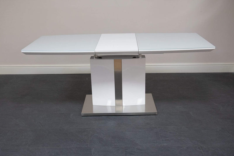 white high gloss glass extending dining table
