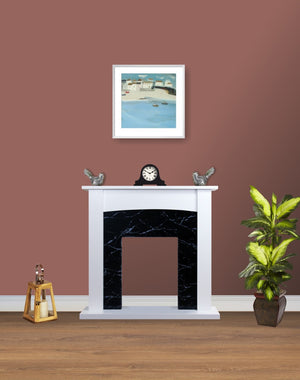 Electric Fire Surround Fireplace White Black Marble Flat Wall 2KW- with No Fire