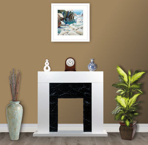 White Black Marble Flat Wall 2KW Electric Fire Surround- with No Fire