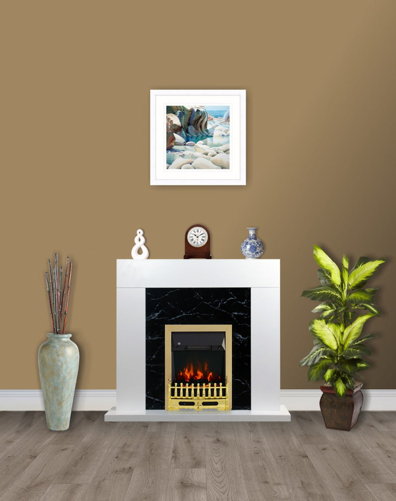 White Black Marble Flat Wall 2KW Electric Fire Surround Set Complete Fireplace- with Brass Fire