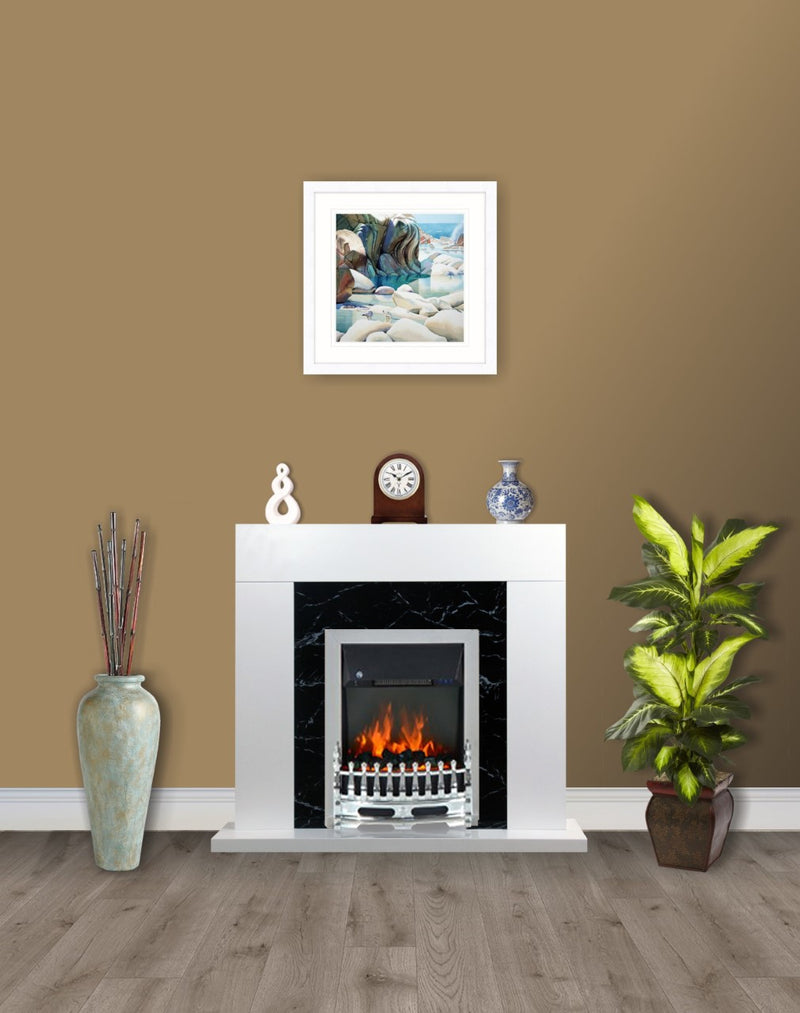 White Black Marble Flat Wall 2KW Electric Fire Surround Set Complete Fireplace- with Chrome Fire