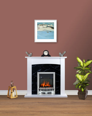 Electric Fire Surround Fireplace White Black Marble Flat Wall 2KW- with Chrome Fire
