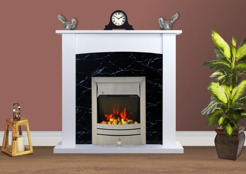 Electric Fire Surround Fireplace White Black Marble Flat Wall 2KW- with Brushed Steel Fire
