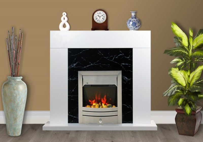 White Black Marble Flat Wall 2KW Electric Fire Surround Set Complete Fireplace- with Brushed Steel Fire