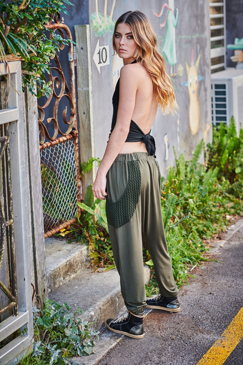 STEPPERS KNIT PANTS OLIVE