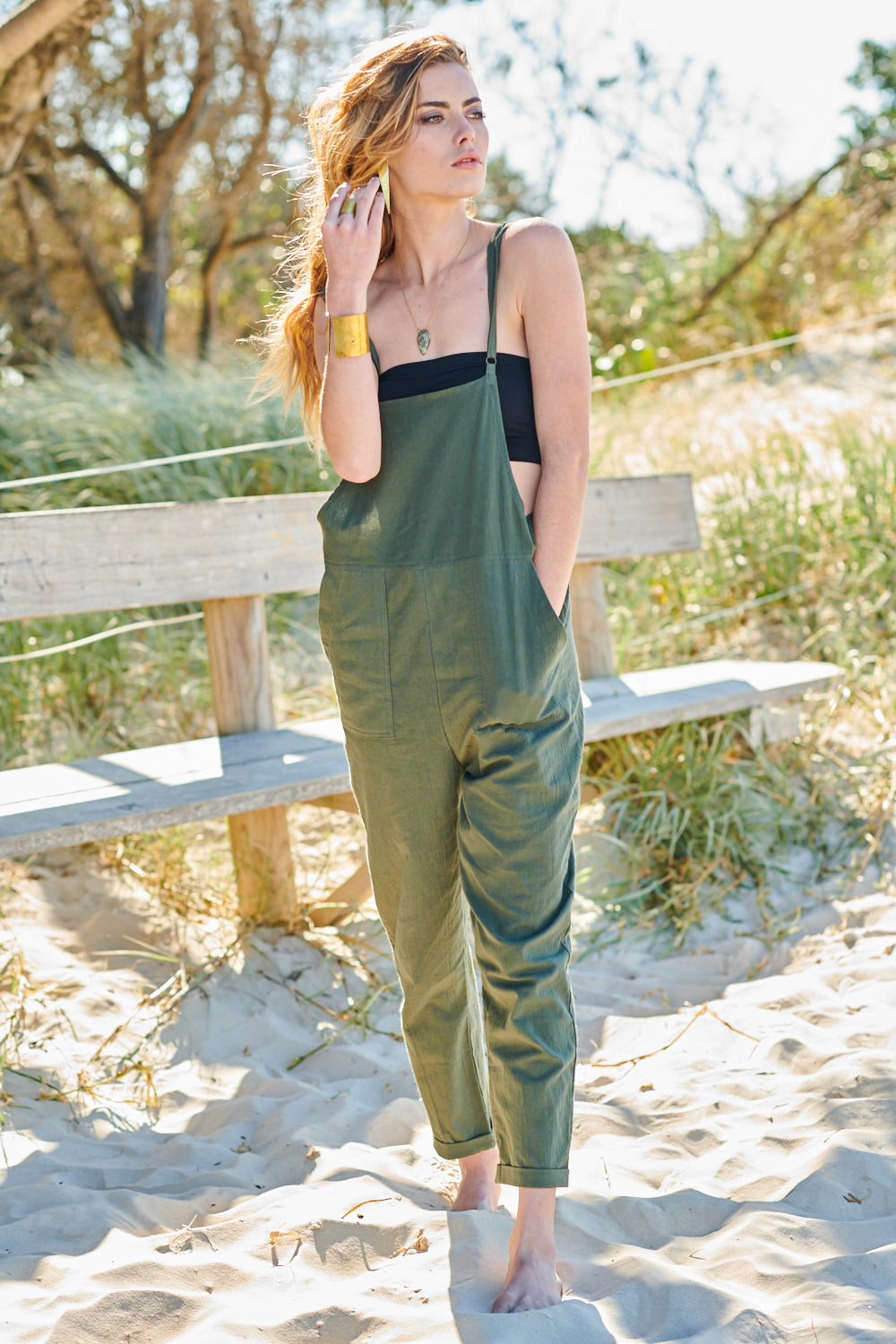 SUMMER BREEZE OVERALLS OLIVE