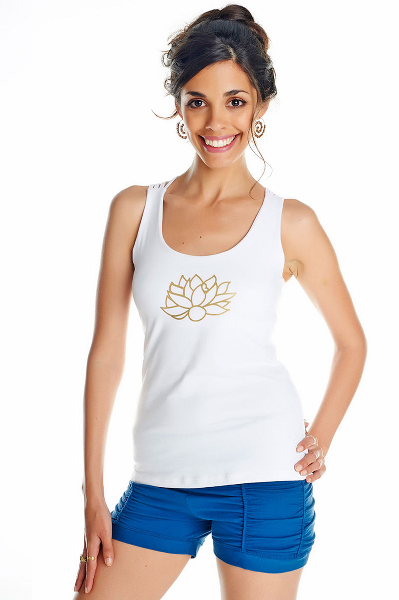 ASANA YOGA TOP WITH LOTUS PRINT