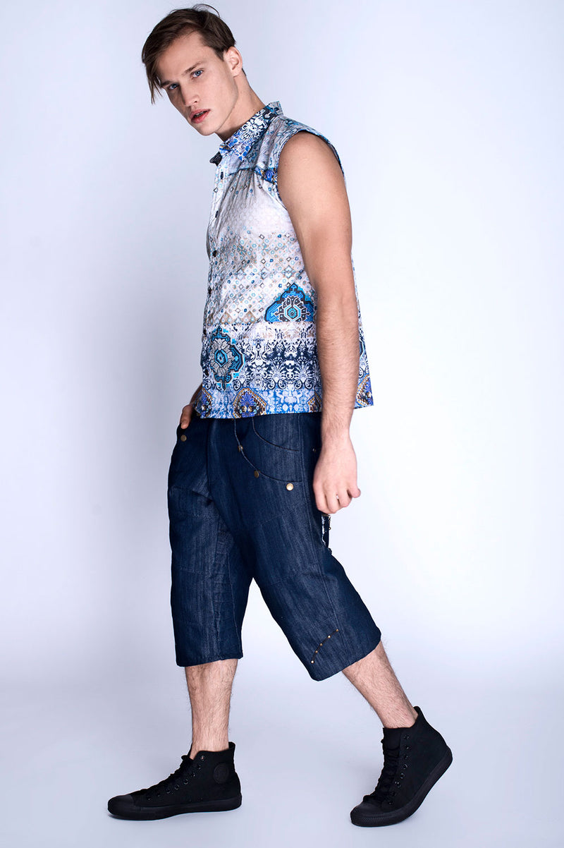 ASH BLUE SLEEVELESS
