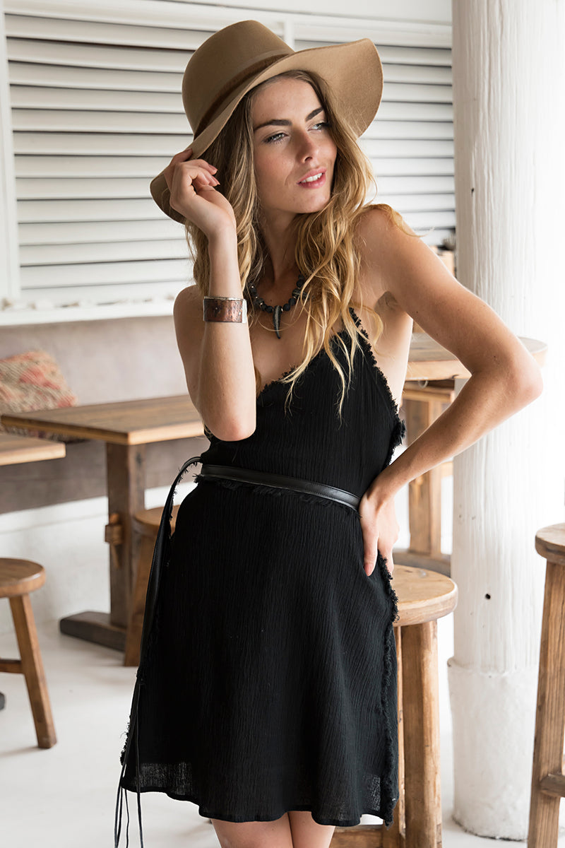 MIDI LEADER DRESS BLACK