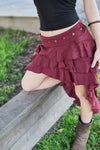 RUFFLE SKIRT IN MAROON