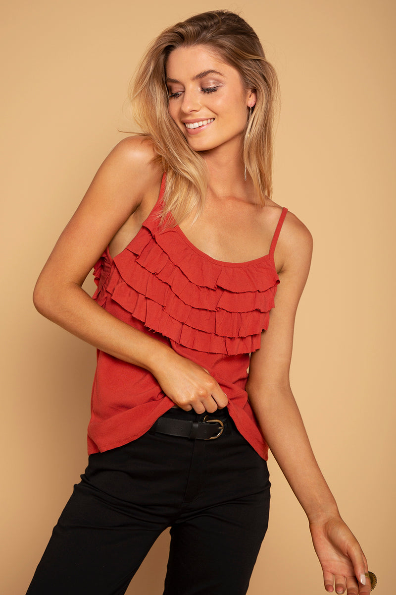 FRILL TOP DEEP RED