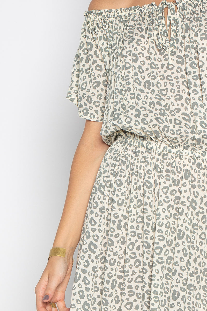 LA VIDA DRESS WITH LEOPARD PRINT