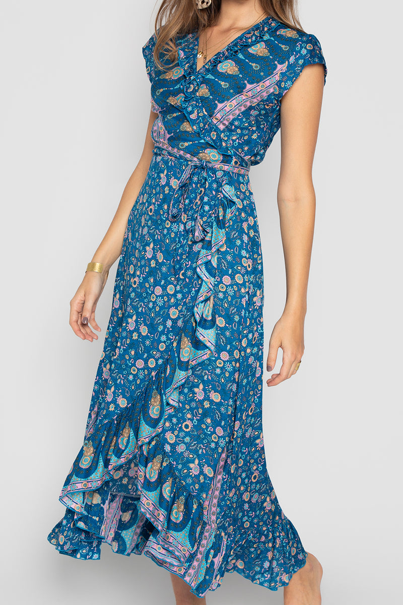 """ La Dolce Vita "" LONG WRAP DRESS BLUE"