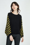 STRIPE KNIT TOP / OLIVE