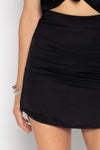 SATIN SKIRT BLACK