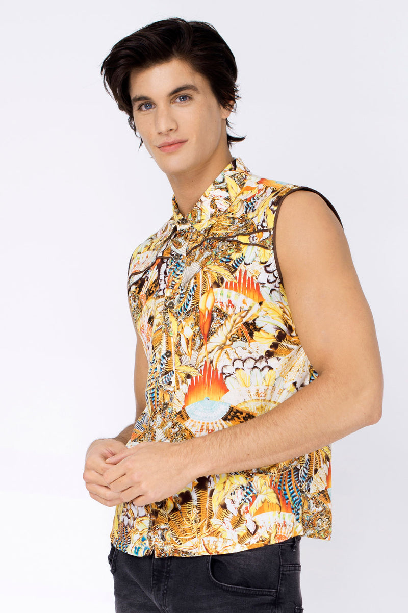 PARADISE YELLOW SLEEVELESS