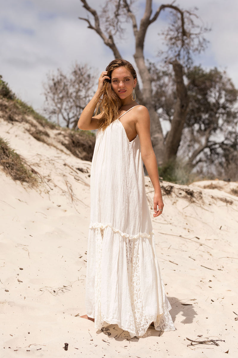 SEASHELL LACE TRIMMED DRESS