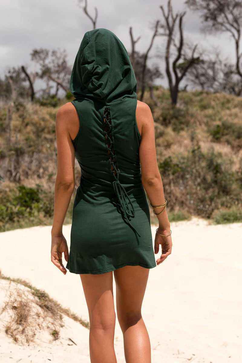ALICE IN WONDERLAND HOODED DRESS in GREEN