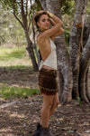 FUNKY LACE MINI SKIRT IN BROWN