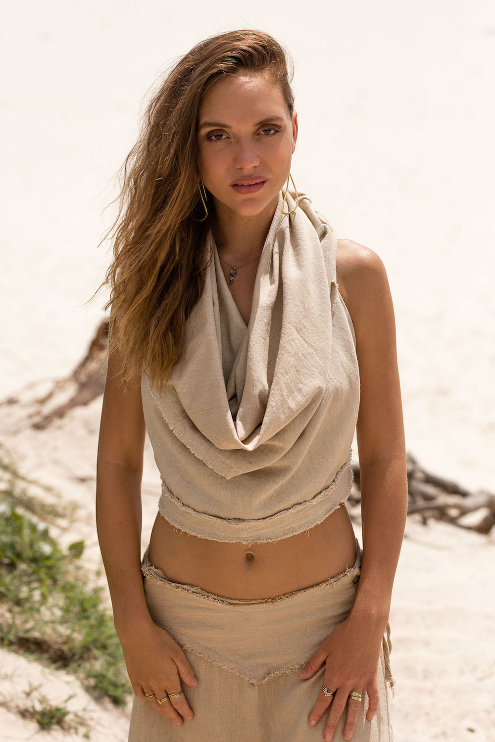 SAGE HOODED TOP in BEIGE