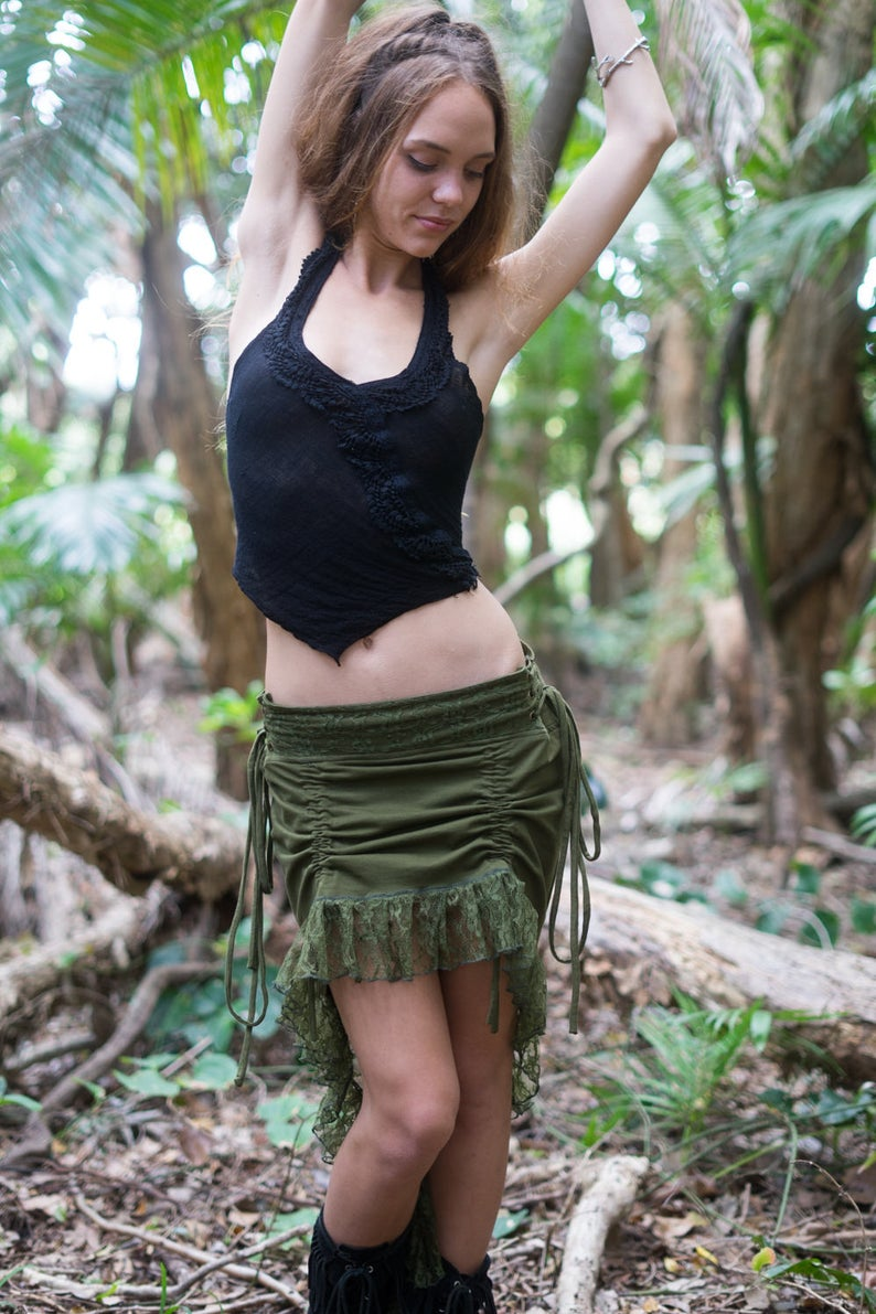 SITA SKIRT IN OLIVE GREEN