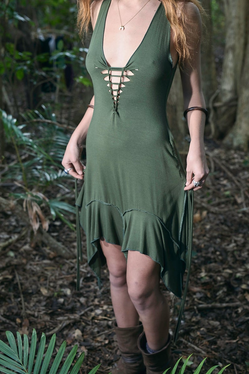 PIXIE DRESS OLIVE