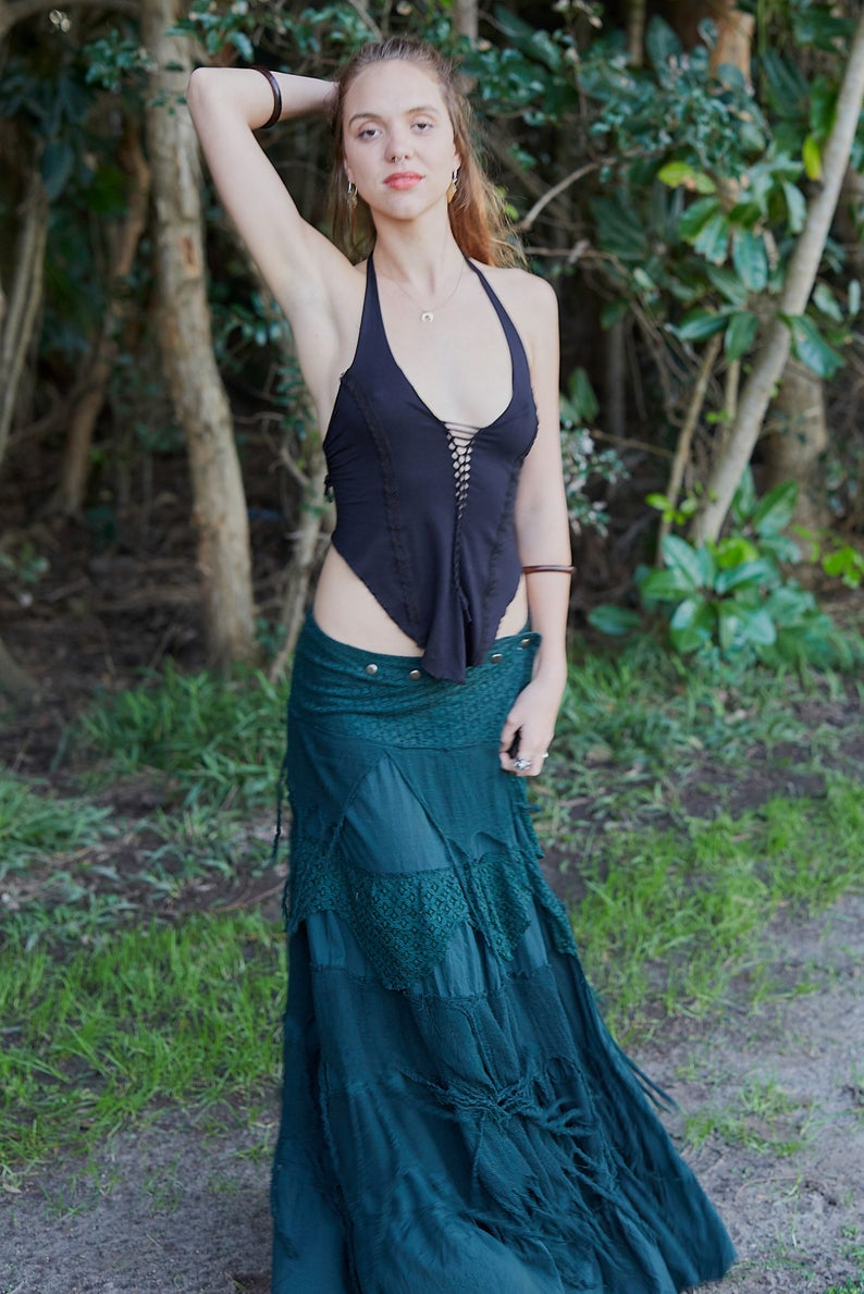 LONG FOREST SKIRT GREEN