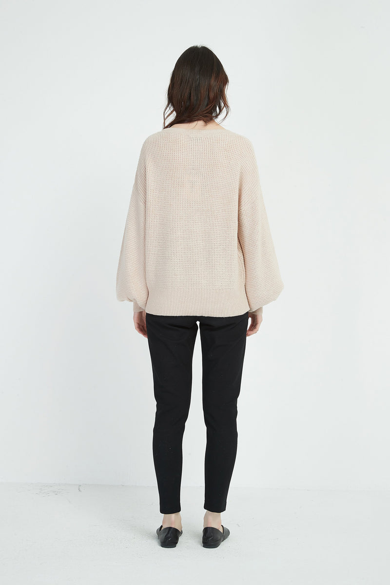 TEXTURED KNIT TOP  /  CHAMPAGNE PINK