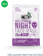 Load image into Gallery viewer, CBDfx Hemp Lavender Night Face Mask 20mg