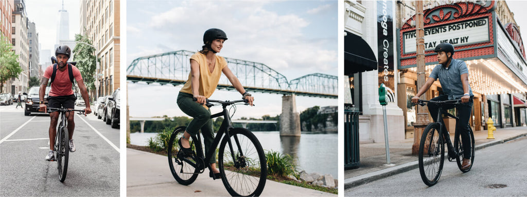 Images of people riding the new Obed Borough