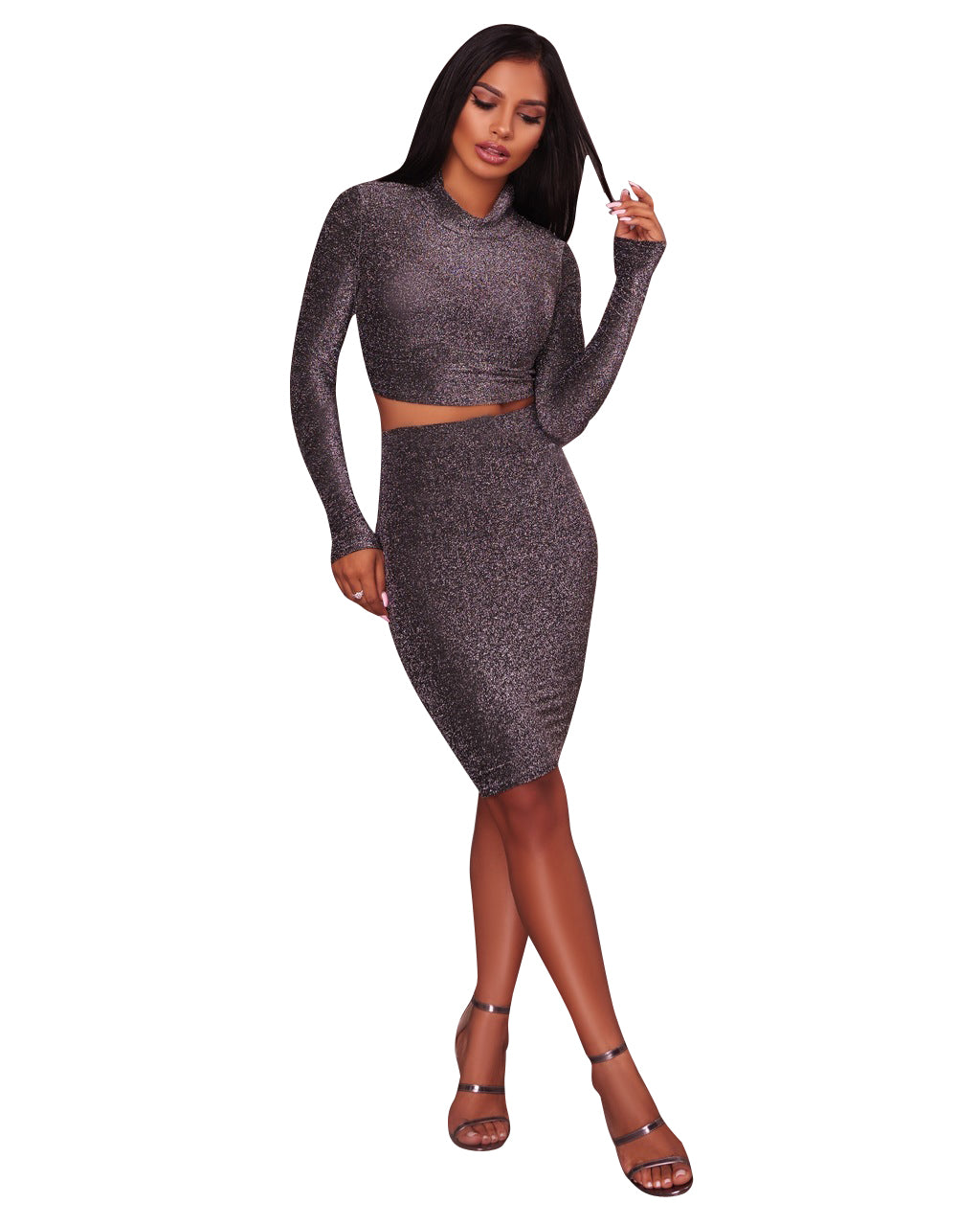 890c43d295ba2 Women s Glitter Bodycon Dress 2 Piece Long Sleeve Crop Top+Mini Skirt Set