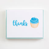 Cupcake Thanks Letterpress Card (Set of 5)