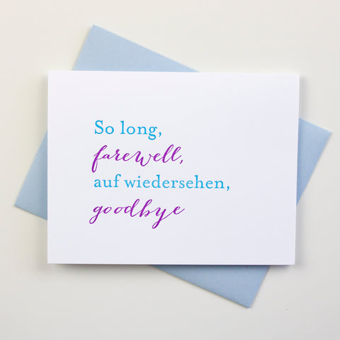 Farewell Letterpress Card