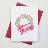 Season's Greetings Wreath Letterpress Card (Set of 5)
