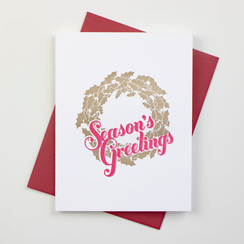 Season's Greetings Wreath Letterpress Card