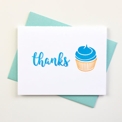 Cupcake Thanks Letterpress Card