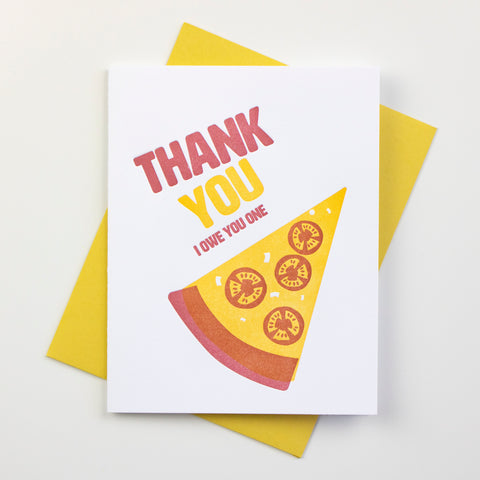 Pizza Thank You Letterpress Card