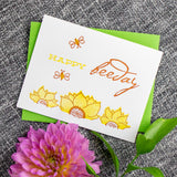Sunflower & Bee Birthday Letterpress Card
