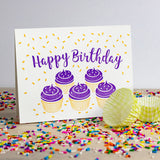 Purple Cupcake Birthday Letterpress Card