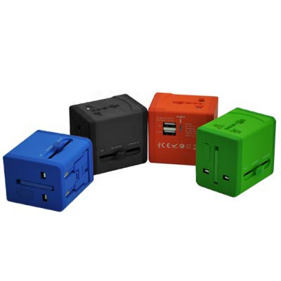 Universal Travel adaptor with 2 USB and safety fuse