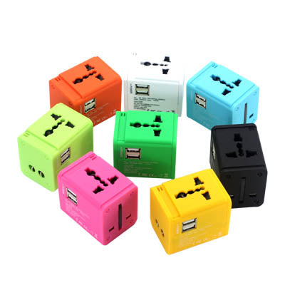 Colourful Travel adaptor with 2 USB hub