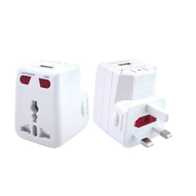 Travel adaptor with 1 USB hub