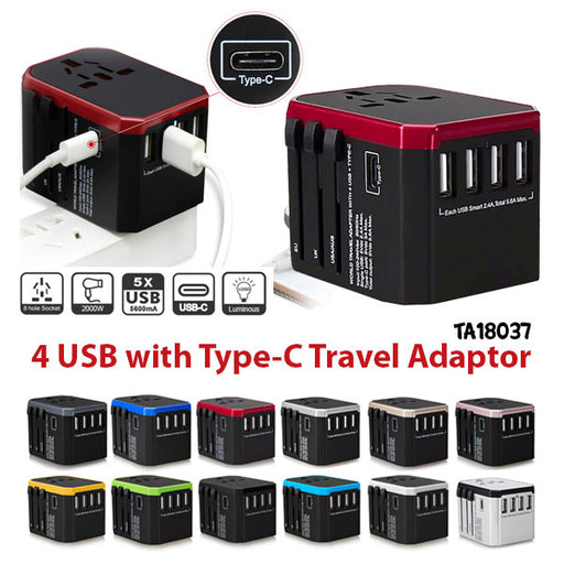 4 USB with Type-C Travel Adaptor
