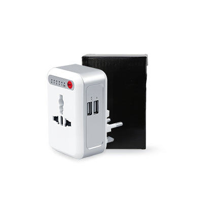 Smart Timing Universal Travel Adaptor with 2 USB hub (White)