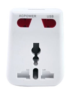 Travel Adaptor With USB Hub (White)